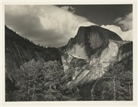 half dome - yosemite (half dome, cottonwood trees) by ansel adams