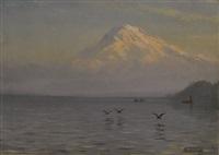 view of mount rainier with fishermen by albert bierstadt