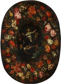 le christ en gloire entouré d'anges bordé de guirlandes de fleurs by luca giordano