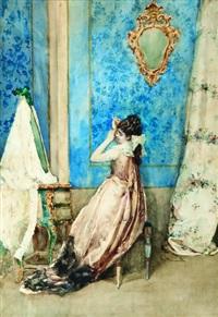 giovane donna in abito elegante alla toletta by attilio simonetti