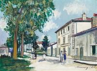 hôtel du lion d'or, vue du centre, mionnay (ain), 1930 by maurice utrillo