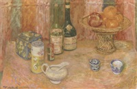 still life with blue canister by lillian mackendrick