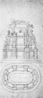 the tomb of pope clement vii with sphinxes, seated prophets and medici coat-of-arms by antonio da sangallo the younger