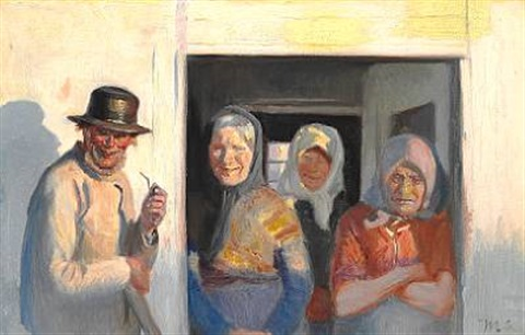 fru krøyer går forbi kristoffers hus by michael peter ancher