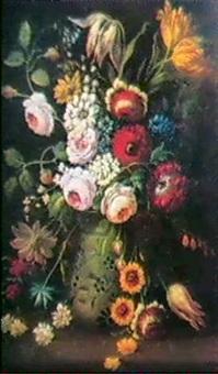 stilleben med blommor i vas by pieter van bleeck