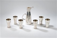beakers (+ ewer, lrgr; 7 pieces) by christopher lawrence