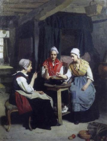 scène dintérieur avec trois paysannes by eugène ernest hillemacher