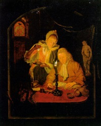 an elegant couple counting money by candlelight, at a stone niche by michiel versteegh