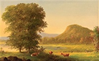 summer landscape with cows, east rock, new haven (+ summer landscape with cows at river; pair) by george henry durrie