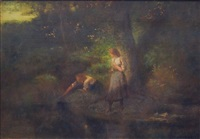 girls fishing by george inness