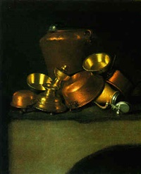 a still life of kitchen utensils on a table by e.r. lautter