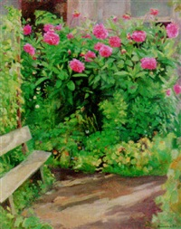 flowers in the garden by genrikh frantsevich brzhozovsky