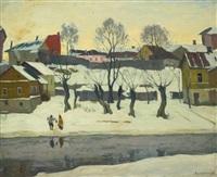 winter scene by arnold borisovich lakhovsky