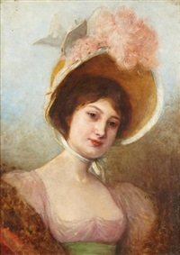 jeune élégante au chapeau by uranie alphonsine colin-libour
