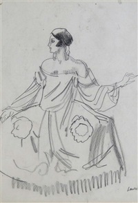 maria dalbaicin wearing picasso's costume for quadro flamenco for the diaghilev ballet company by dame laura knight