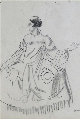 maria dalbaicin wearing picassos costume for quadro flamenco for the diaghilev ballet company by dame laura knight