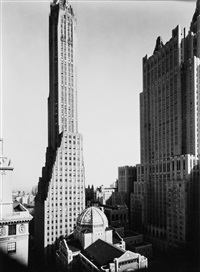 st. bartholomew's, waldorf astoria, general electric building, park avenue and 57th street, nyc, 193 by berenice abbott