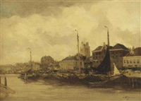 the harbour of dordrecht, with the grote kerk beyond by willem george frederik jansen