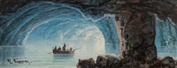 the blue grotto, capri, with three other scenes in and around the bay of naples (4 works) by y. gianni