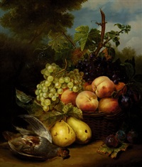 still-life with fruits in a basket and a dead siskin by elisabeth iosetta hoopstad