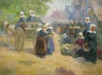 bretonnes en charrette au marché by renée carpentier