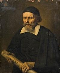 porträt eines herren mit einer schriftrolle by samuel van hoogstraten