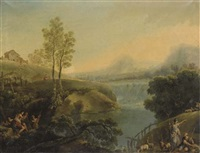 paesaggio fluviale con pastori e pescatori by carlo lodi