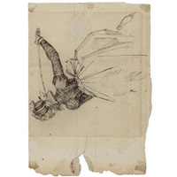 mrs fuseli seen from behind, brandishing a riding whip by henry fuseli