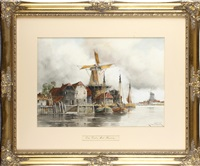 the old timber mill, near harleem and barges on the river (3 works) by louis van staaten