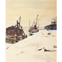 winter, shipyard by albert jacques franck