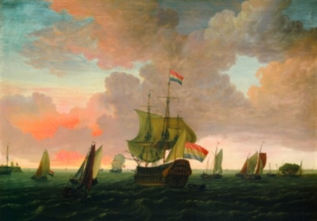 holländisches kriegsschiff und zahlreiche andere segelschiffe in einer hafeneinfahrt by adam silo