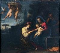 sainte famille dans un paysage by michel corneille