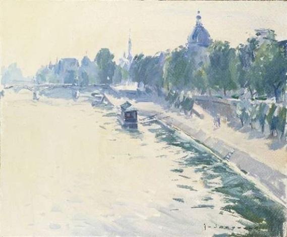 la seine et linstitut du pont du carrousel le matin by paul jean anderbouhr