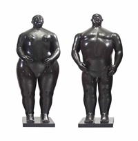adam and eve (2 works) by fernando botero