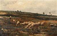 bergère gardant son troupeau by françois simon
