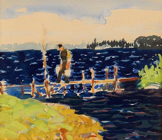 boat landing by george benjamin luks