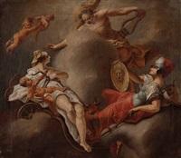 apoll erscheint den göttinnen hera mit eros und athena by martino altomonte
