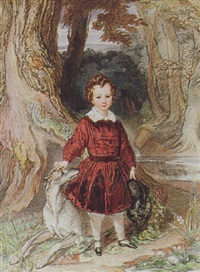 a portrait of a young boy and his greyhound by eliza sharpe