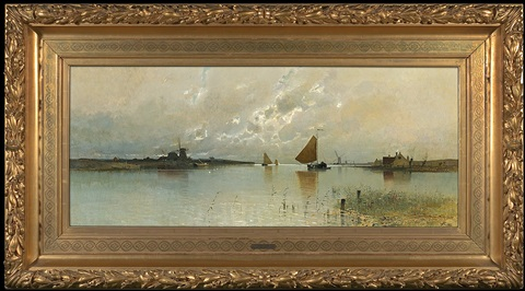 morning at ijmuden canal in netherlands by eduard fischer