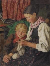 zwei mädchen beim stricken by oszkár glatz