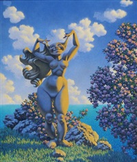 standing stylized nude in springtime landscape (earth goddess) by hannes vajn bok
