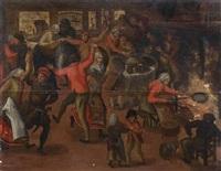 fête villageoise dans un intérieur by pieter balten