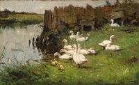 ducks at the water's edge by john frederik hulk the younger