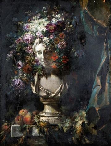 buste dastrée couronné de fleurs by simon saint jean