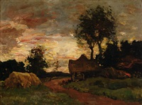 farm at dusk by charles dankmeijer