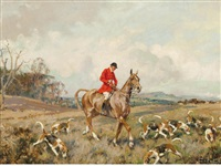 huntsman and hounds (+ another by the same hand; pair) by gilbert scott wright