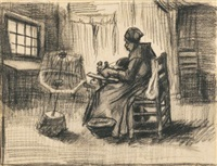 peasant woman reeling yarn by vincent van gogh