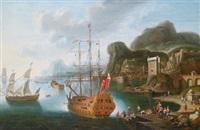 ein südlicher seehafen mit einem ankernden dreimaster und anderen schiffen sowie vielen figuren by dismas daona