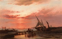 the unloading of fishing boats at dusk by theodor alexander weber