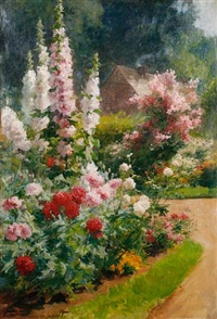 a sunny garden by albert tibule furcy de lavault